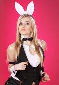 Rabbit costume party dancer — Stock Photo