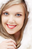 Lovely blond in fur — Stock Photo