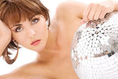 Glitterball lady portrait — Stock Photo