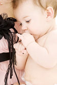 Clean baby boy in mother hands — Stock Photo