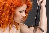 Redhead warrior — Stock Photo
