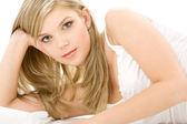 Blonde in white cotton underwear — Zdjęcie stockowe