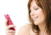 Woman with pink phone — Stock Photo