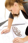 Architect girl at work — Stock Photo