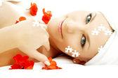 červený květ slunečnice lázně hádanka — Stock fotografie
