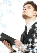 Man with holy bible — Stock Photo
