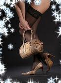 Snakeskin shoes, handbag and stockings — Stock Photo