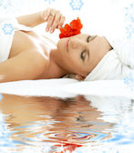 Spa relaxation on white sand — Stock Photo