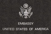 Embassy of united states of america board — Stock Photo