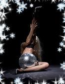 黑 glitterball 舞蹈 — 图库照片