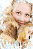 Blonde in fur — Stock Photo
