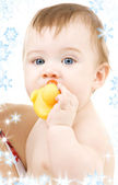 Baby with duck — Stock Photo