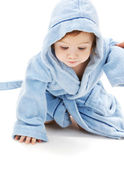 Baby boy in blue robe — Stock Photo