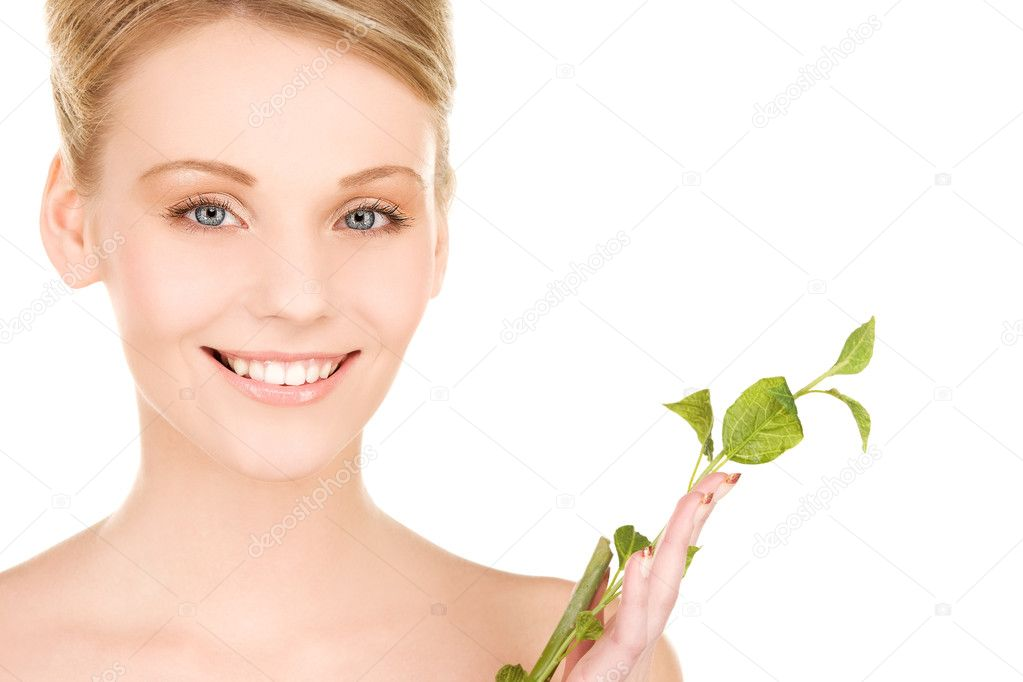 Picture of woman with sprout over white — Stock Photo #11760062