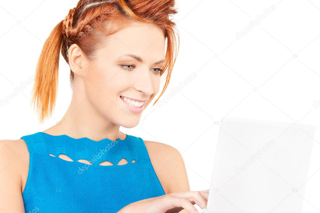 Picture of happy woman with laptop computer — Stock Photo #11762529