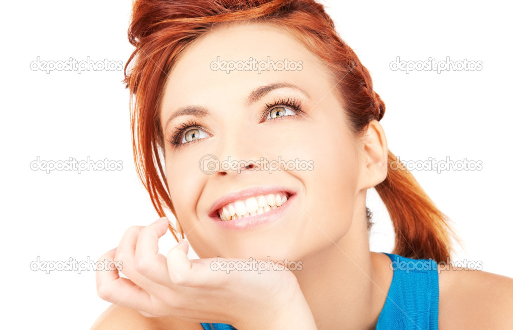 Bright picture of lovely woman over white  Stock Photo #11763897