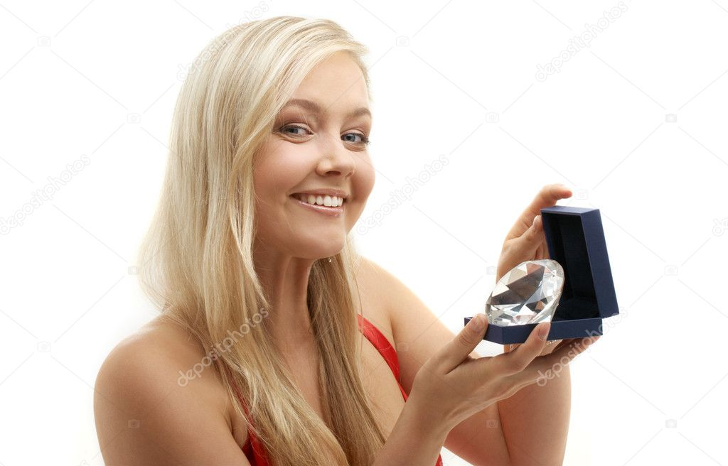 Picture of lovely blond with big diamond — Stock Photo #11764506