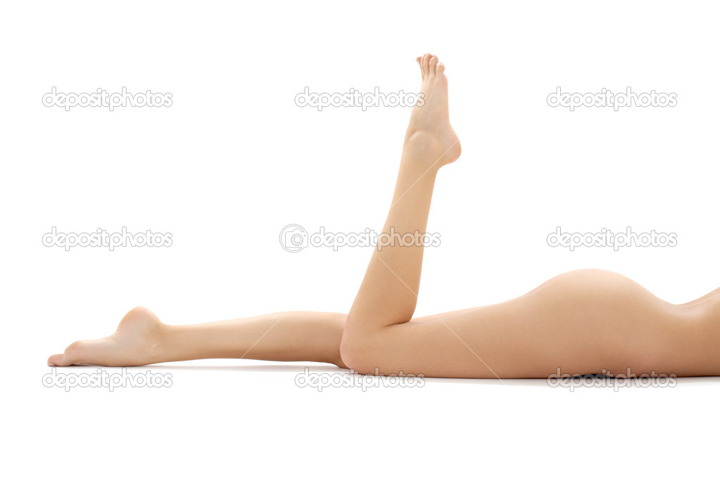 Long legs of relaxed lady over white — Stock Photo #11764737