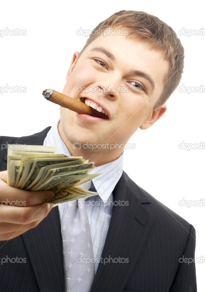 Smoking gangster holding dollar bills over white — Stock Photo #11764749