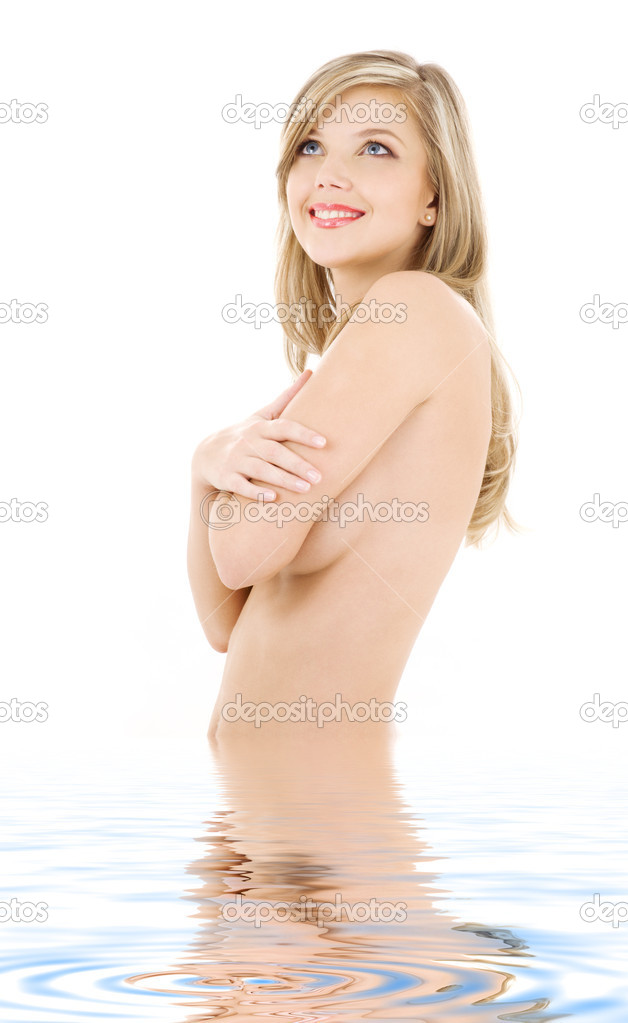 Picture of lovely topless blonde in water — Stock Photo #11766657