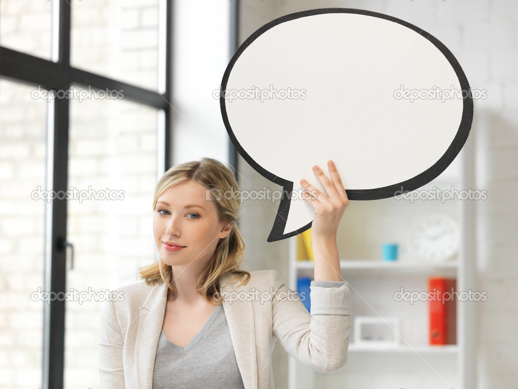 Bright picture of smiling businesswoman with blank text bubble — Stock Photo #11766809