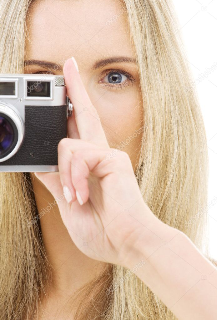 Picture of lovely girl with old rangefinder camera — Stock Photo #11766865