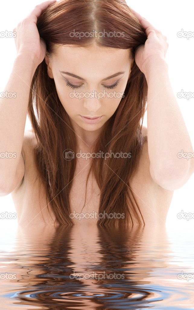 Picture of lovely long hair girl in water — Stock Photo #11767151