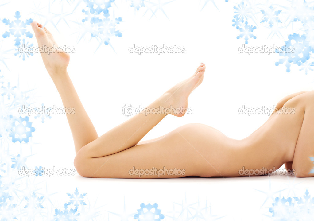 Torso of relaxed naked woman with snowflakes  Stock Photo #11768539