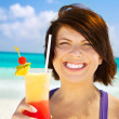 Happy woman with colorful cocktail - Foto Stock