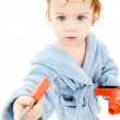 Baby boy with toy tools — Stock Photo
