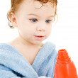 Baby boy with toy drill — Stock Photo