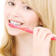 Happy girl with toothbrush — Stock Photo #11771230