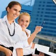 Two happy businesswomen — Foto de Stock