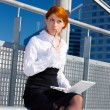 Pensive businesswoman — Stockfoto