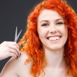Redhead with scissors — Stock Photo #11773445