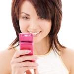 glückliche Frau mit Handy — Stockfoto
