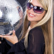 Stock Photo: Party girl with disco ball