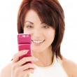 Happy woman with cell phone - Stock Photo
