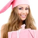 Happy santa helper with gift box — Stock Photo #11774888