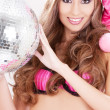 Santa helper in pink lingerie with disco ball — Stock Photo #11774949