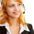 Happy customer service girl — Stock Photo