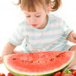 Little girl with strawberry and watermelon — Stock Photo #11775567