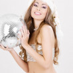 Sexy santa helper with disco ball — Stock Photo #11776045