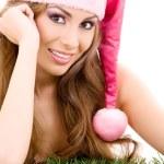 Happy santa helper in pink hat — Stock Photo #11776080