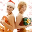 Foto Stock: Christmas party girls