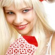 Santa helper girl — Stockfoto