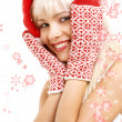Santa helper girl with snowflakes - Stock Photo