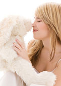 Teenage girl with plush toy — Stock Photo