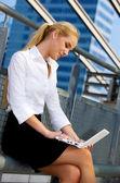 Woman with laptop — Stok fotoğraf