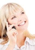 Happy woman with cell phonev — Stock Photo